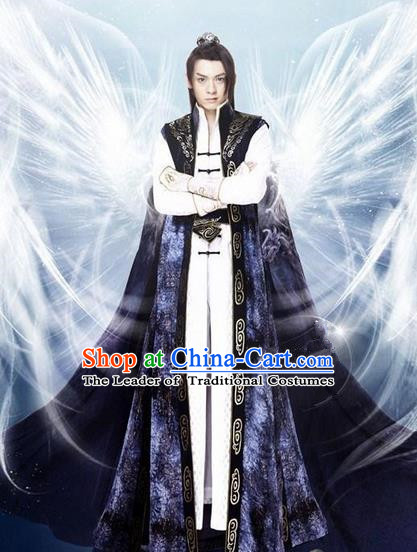 Traditional Chinese Ancient Emperor Costumes, Ancient Chinese Cosplay General Swordsmen Palace Prince Embroidered Costume Complete Set for Men