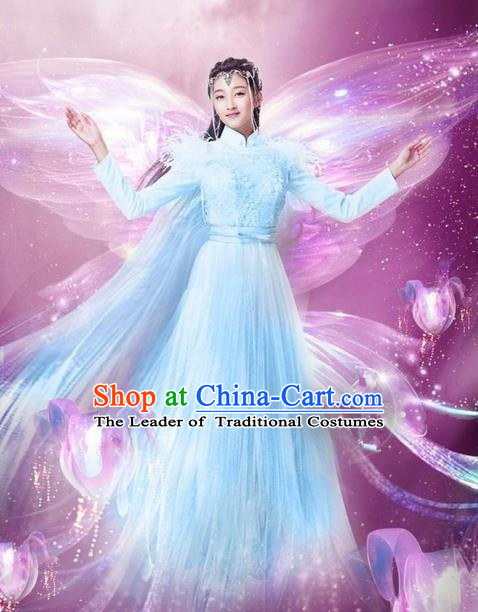 Traditional Chinese Ancient Female Costumes Young Girl Costume, Chinese Han Dynasty Imperial Princess Embroidery Clothes and Hair Accessories Complete Set for Women