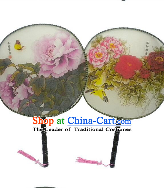 Ancient Chinese Tuan Shan Circular Fan Moon Shaped Fan Stage Property Dance Chinese Flowers