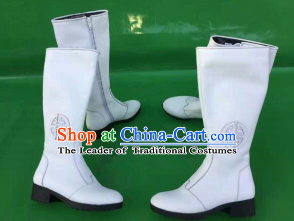 Traditional Chinese Minority Mongol Nationality Ethnic Minorities Mongolian Dance Cowhide Boots Mongolian Knee Boots Jockey Boots Tanks Boots for Women
