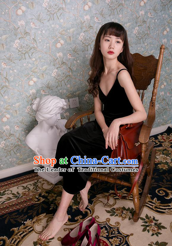 Traditional Classic Women Clothing, Pure Color Black Velvet Close-Fitting Render Condole Belt Unlined Upper Garment Of Cultivate, Braces Skirt Base Shirt One Piece Sun-Top