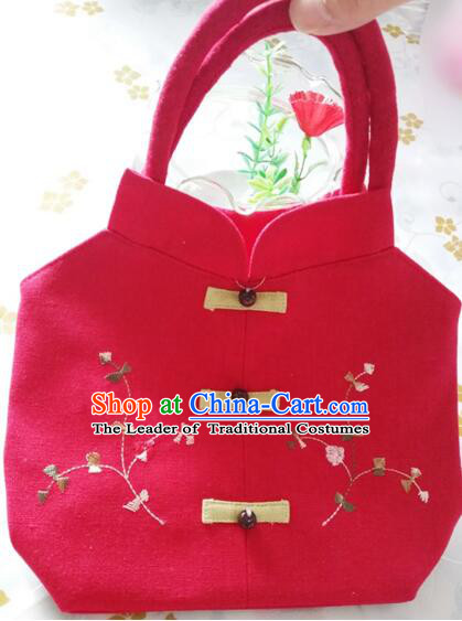 Purse Women Handbag Chinese Traditional Style Min Guo Lady Stage Play Property Red