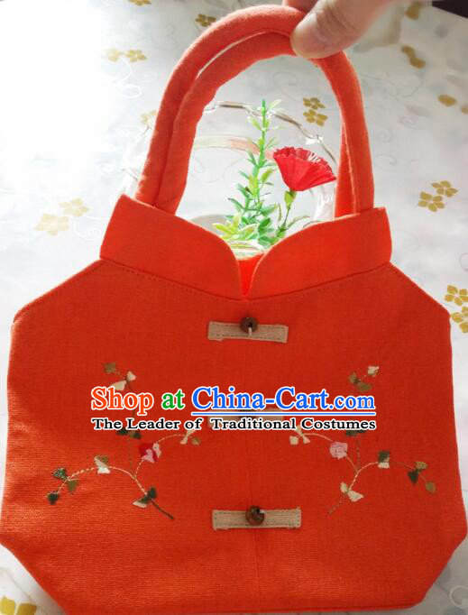 Purse Women Handbag Chinese Traditional Style Min Guo Lady Stage Play Property Rose Red