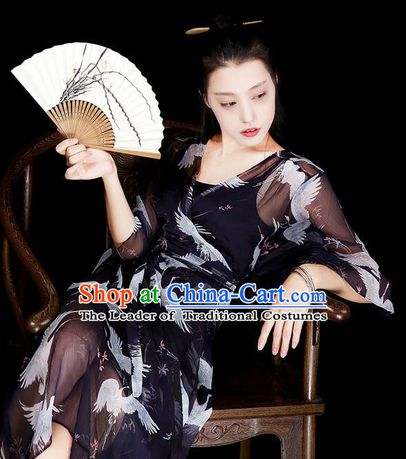 Traditional Classic Women Clothing, Traditional Classic Long Chiffon Even Dress, Long Chiffon Skirts with Braces Skirt