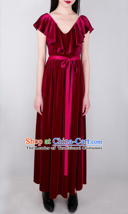 Traditional Classic Women Clothing, Traditional Goose Down Even Garment Skirt Falbala Velvet Long Red Dress for Women