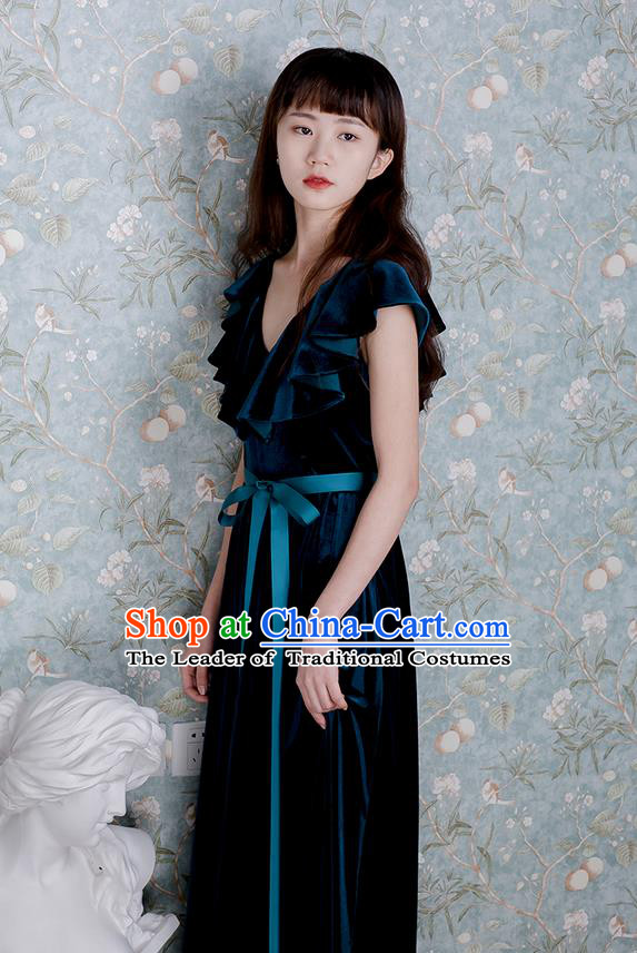 Traditional Classic Women Clothing, Traditional Goose Down Even Garment Skirt Falbala Velvet Long Dress for Women