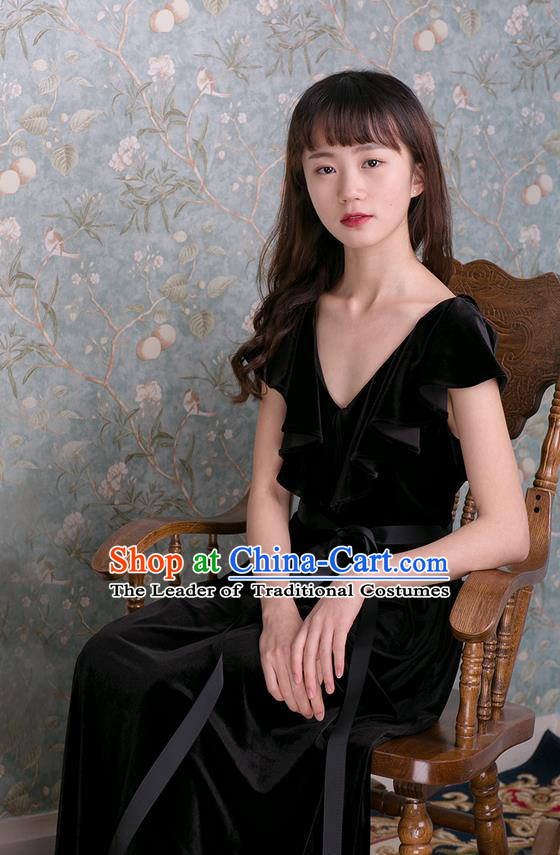 Traditional Classic Women Clothing, Traditional Goose Down Even Garment Skirt Falbala Velvet Long Black Dress for Women