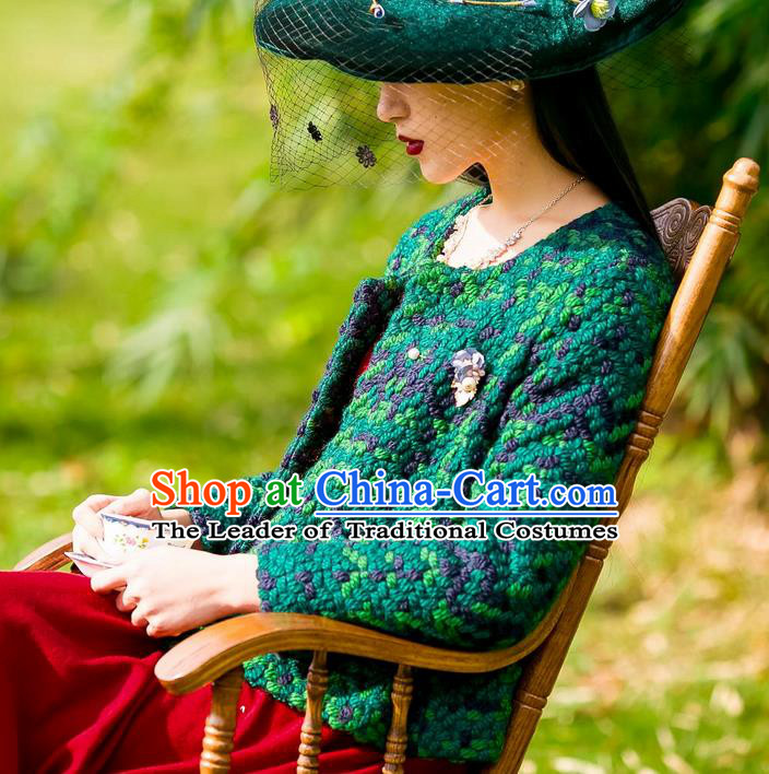 Traditional Classic Women Clothing, Traditional Classic Pure Green Woolen Tweed Jacket Wool Coats