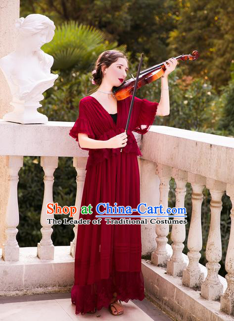 Traditional Classic Women Clothing, Traditional Classic Red Silk Pajamas Heavy Lace Embroidery Evening Dress Restoring Garment Skirt Braces Skirt