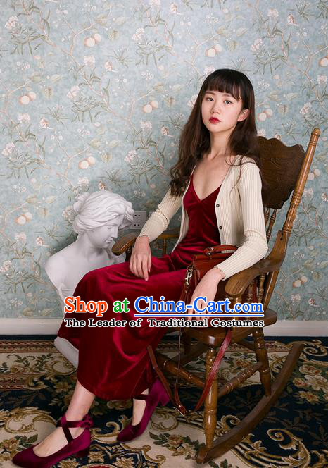 Traditional Classic Women Clothing, Pure Color Red Velvet Close-Fitting Render Condole Belt Unlined Upper Garment Of Cultivate, Braces Skirt Base Shirt One Piece Sun-Top
