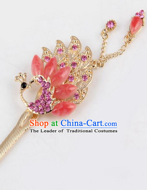 Korean Traditional Style Hairpins Bride Head Wear Up Do Tassels Bu Yao Peacock Spreading Tail Feathers Hair Clasp Red