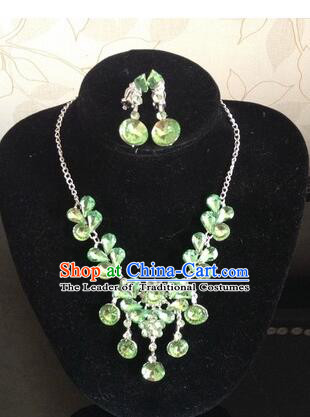 Ancient Style Accessories Necklace Chain Ear Wearing Set Wedding Decorating Jing Hong WU Empresses in the Palace Green