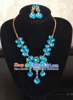 Ancient Style Accessories Necklace Chain Ear Wearing Set Wedding Decorating Jing Hong WU Empresses in the Palace Blue