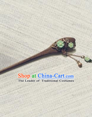Classic Wooden Hairpins Metal Decorating Bu Yao Han Fu Access Colorful Flowers