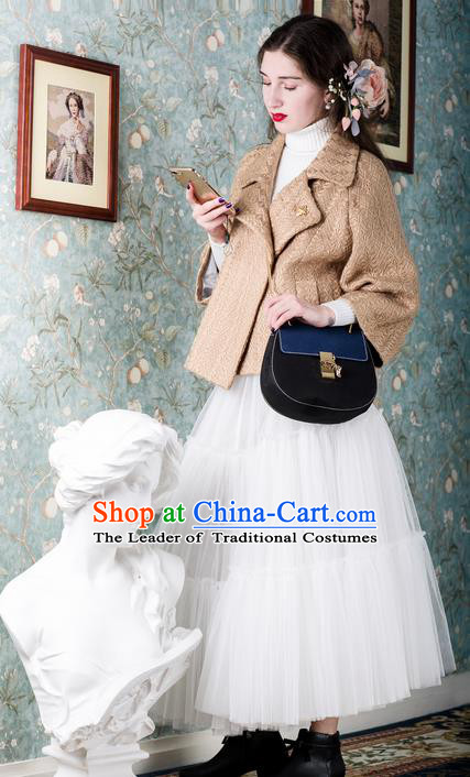 Traditional Classic Women Clothing, Traditional Classic Deep Blue Pure Woolen Tweed Jacket Wool Coats