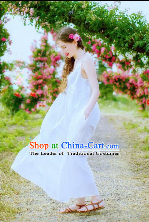 Traditional Classic Women Clothing, Traditional Classic Elegant Yarn Brought Palace Restoring One-Piece Dress Braces Skirt Posed Condole Embroidered Long Dress