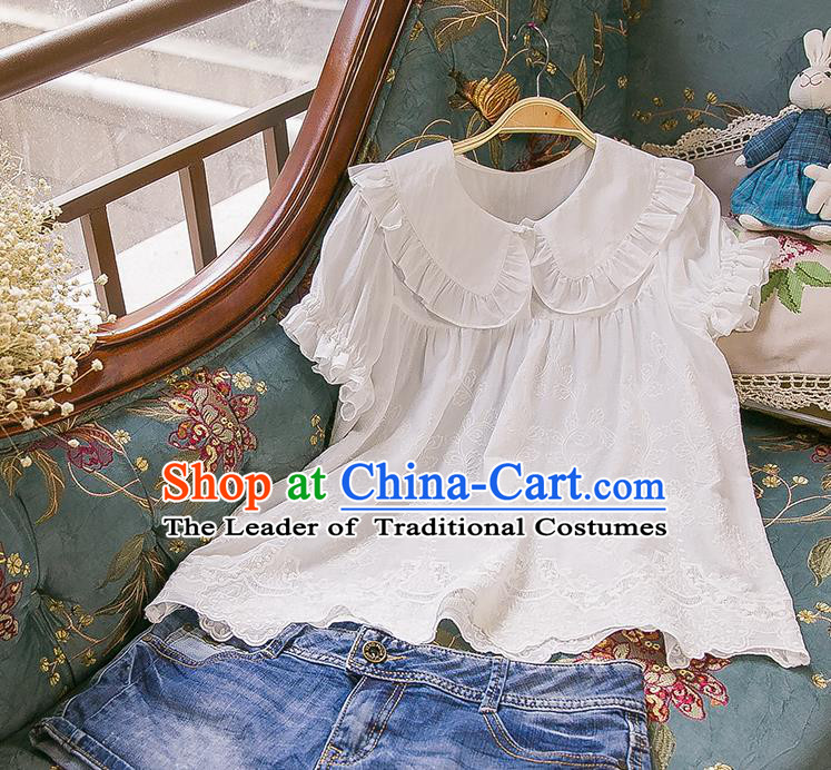 Traditional Classic Women Clothing, Traditional Palace Princess Cotton Embroidered Blouse, Princess Lace Blouse