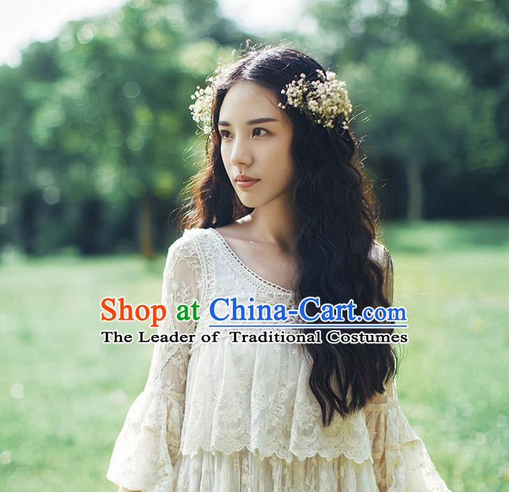 Traditional Classic Women Costumes, Traditional Palace Princess Cotton Embroidered Blouse, Princess Heavy Lace Blouse