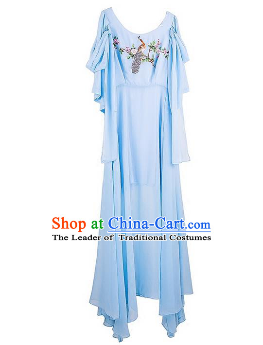 Traditional Classic Women Costumes, Traditional Classic Advanced Embroidery Chiffon Dress Long Skirts