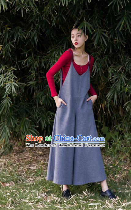 Traditional Classic Women Costumes, Traditional Classic Gray Leisure More Concise Design Leather Cashmere Jumpsuits Wide-Legged Pants
