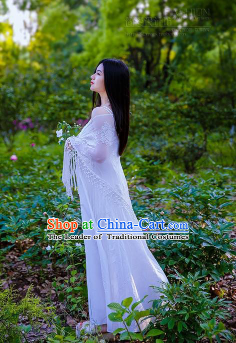 Traditional Classic Women Costumes, Traditional Classic Ture Silk Heavy Lace Embroidery Shawl Lace Cappa