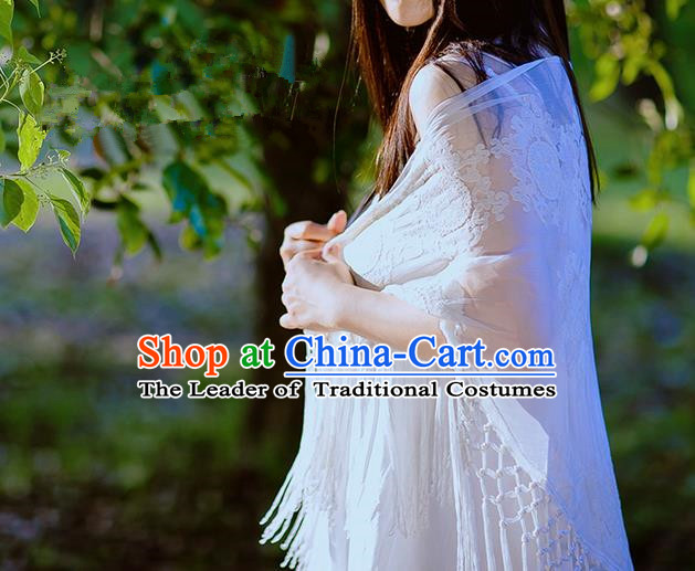 Traditional Classic White Silk Pajamas Heavy Lace Embroidery Evening Dress Restoring Garment Skirt Braces Skirt