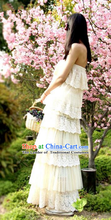 Traditional Classic Women Clothing, Traditional Classic Roman Lace Chiffon Cake Skirt Of Bitter Fleabane Bitter Fleabane Long Skirt Connect Dress Skirt