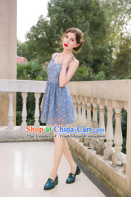 Traditional Classic Women Clothing, Traditional Classic Palace Broken Beautiful Condole Belt Skirt Chiffon Short Dress