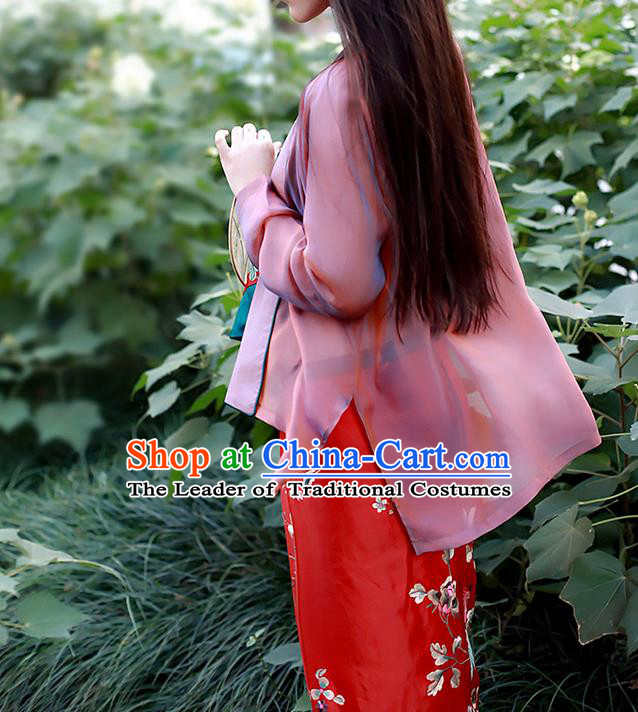 Traditional Classic Women Clothing, Traditional Classic Chinese Real Silk Unreal Lubricious Gauze As Thin As Cicada Wings Hanfu Coat Cardigan