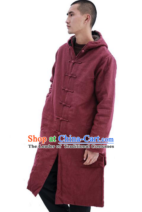 Chinese Hooded Cotton Linen Double-Breasted Tang Suit Plate Buttons Costumes, Chinese Style Ancient Thick Cotton Wadded Robe Hanfu Male Winter Long Coat