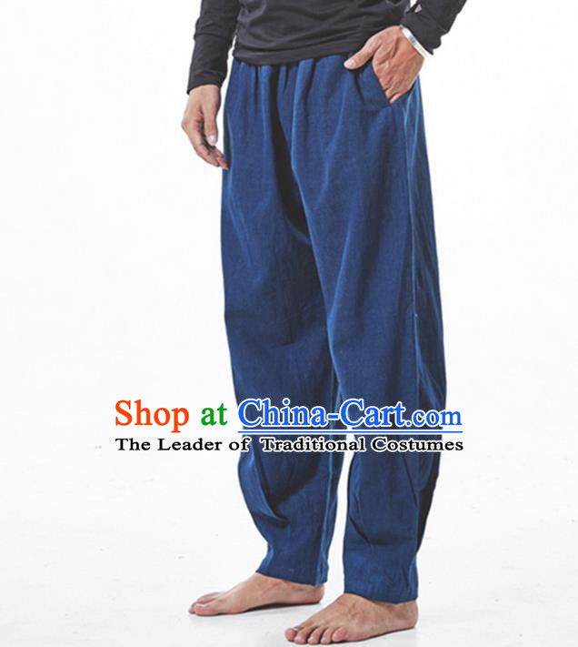 Traditional Chinese Linen Tang Suit Trousers, Chinese Ancient Costumes Elastic Practise Leg Pants Lay Pants Zen Pants