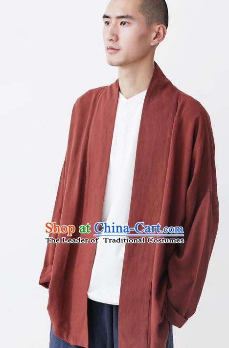 Traditional Chinese Linen Tang Suit Coat, Chinese Ancient Costumes, Improvement Hanfu Flax Male Cotton Long Sleeve Buddhist Youth Coat