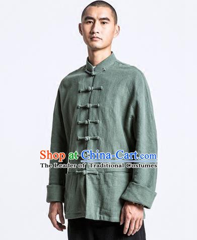 Traditional Chinese Long-Sleeved Linen Tangzhuang Overcoat, Flax Tang Suit Coat for Men