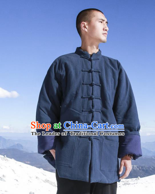 Chinese Hooded Cotton Linen Double-Breasted Tang Suit Plate Buttons Costumes, Chinese Style Ancient Thick Cotton Wadded Overcoat Hanfu Winter Coat for Men