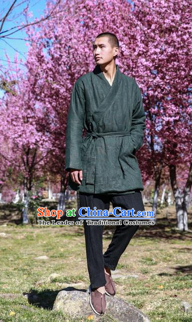 Traditional Chinese Hooded Cotton Linen Double-Breasted Men Tang Suit Plate Buttons Costumes, Chinese Style Ancient Thick Cotton Wadded Robe Hanfu Male Winter Long Coat