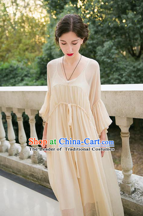 Traditional Classic Women Clothing, Traditional Classic Mandarin Sleeve Chiffon Long Skirt Horn Sleeve Dress