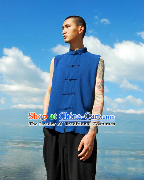 Traditional Chinese Linen Tang Suit Men Plate Buttons Vest, Chinese Ancient Costumes Linen Vests for Men
