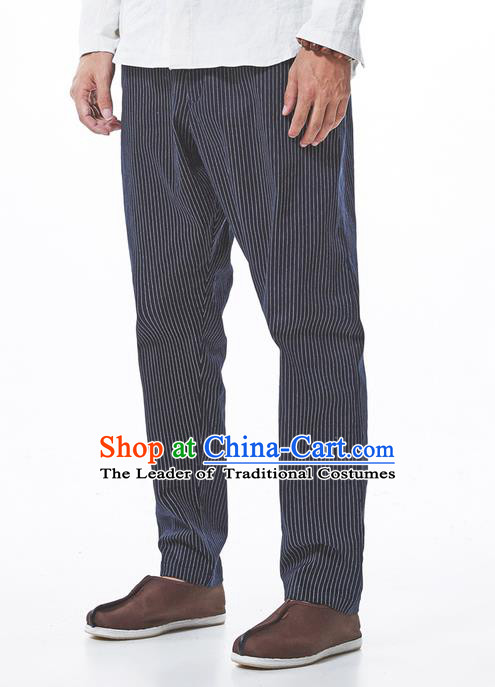 Traditional Chinese Linen Tang Suit Men Trousers, Chinese Ancient Costumes Cotton Pants, Straight Foot Trousers Stripes Pants for Men