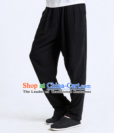 Traditional Chinese Linen Tang Suit Men Trousers, Chinese Ancient Costumes Cotton Pants, Silk Cotton Feet Ruffle Pants for Men