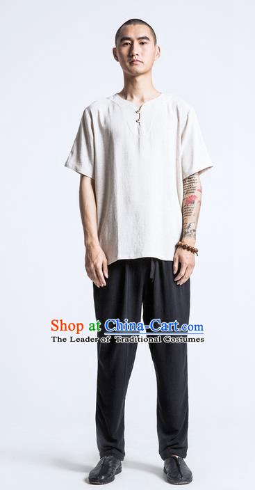 Traditional Chinese Linen Tang Suit Men Costumes, Chinese Ancient Silk Floss Short Sleeved T-Shirt Brass Buttons Costume for Men