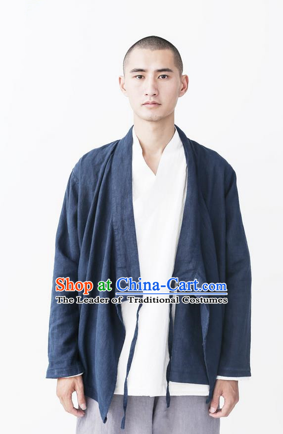 Traditional Chinese Linen Tang Suit Men Costumes, Chinese Ancient Hanfu Cotton Slant Opening Tangsuit Jacket, Tangsuit Blouse for Men