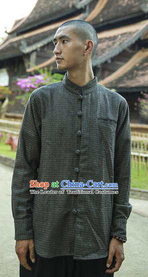 Traditional Chinese Woolen Tang Suit Men Costumes Men Shirt, Chinese Ancient Wool Blouse for Men