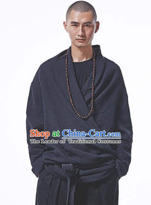 Traditional Chinese Linen Tang Suit Men Costumes Coats, Chinese Ancient Linen Improved Hanfu Zen Suit Dust Coat for Men