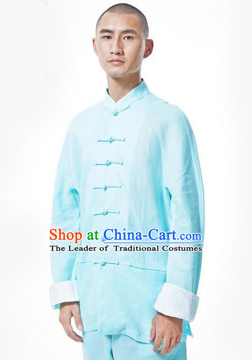 Traditional Chinese Linen Tang Suit Men Costumes, Hanfu Men Blouse, Chinese Ancient Front Opening Brass Buttons Long Sleeved Shirt Costume for Men