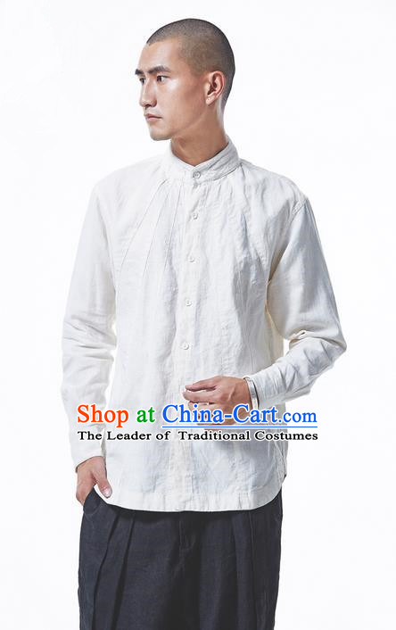 Traditional Chinese Linen Tang Suit Men Costumes Blouse, Chinese Ancient Tunic Suit Long Sleeved Shirt for Men