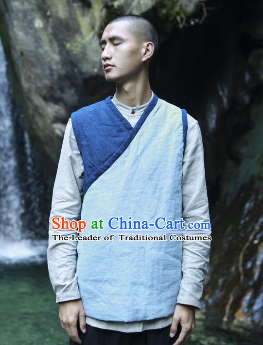 Traditional Chinese Linen Tang Suit Men Costumes Vest, Chinese Ancient Thicken Cotton Vest, Hanfu Slant Opening Vest for Men