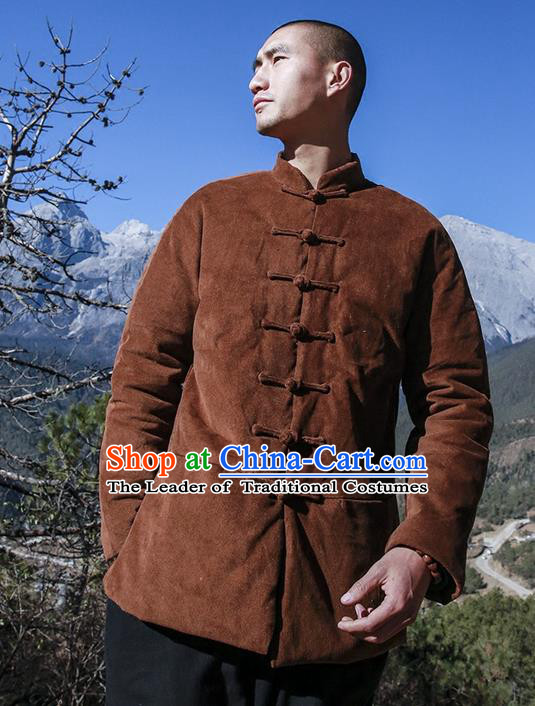 Chinese Hooded Cotton Linen Double-Breasted Tang Suit Plate Buttons Chinese Style Restoring Ancient Thick Cotton-Padded Jacket Hanfu Male Winter Coat