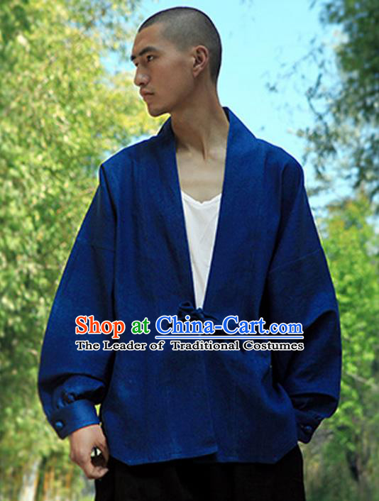 Traditional Chinese Jean Tang Suit Men Costumes Coat, Chinese Bandhnu Hanfu, Chinese Ancient Double Jean Linen Jacket for Men