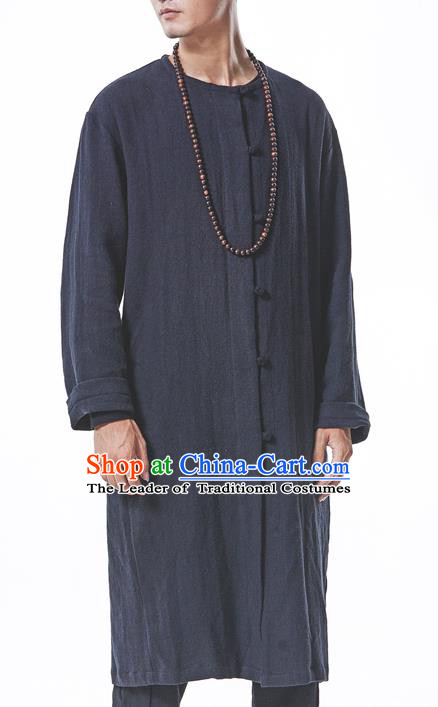 Traditional Chinese Linen Tang Suit Men Costumes, Chinese Ancient Hanfu Long Coat Dust Coat, Front Opening Plate Buttons Long Robe for Men