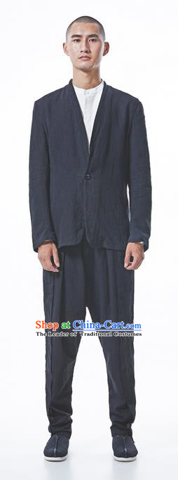 Traditional Chinese Linen Tang Suit Men Costumes Upper Garment, Chinese Ancient Hanfu Dress Suit Coat for Men